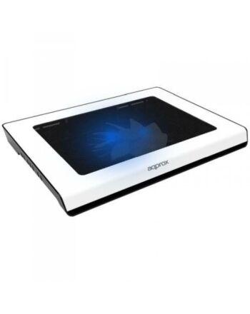 "Approx (APPNBC06W) Laptop Cooler, up to 15.6"", USB, Fan, White, Ergonomic, LED, Retail"