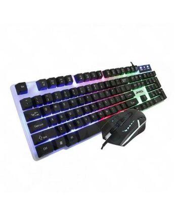 Jedel GK100 RGB Gaming Desktop Kit, Backlit Membrane RGB Keyboard & 800-1600 DPI LED Mouse, White