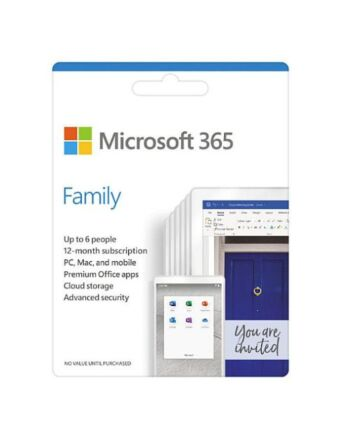 Microsoft Office 365 Family, 6 Users - 5 Devices Each (PC, Mac, iOS & Android), 1 Year Subscription